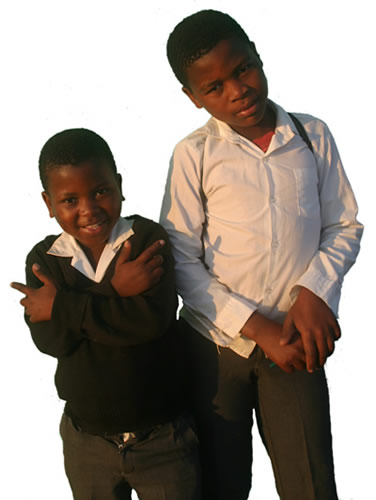 two Xhosa school boys in Lubanzi Village